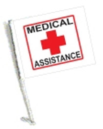 SSP Flags: Car Flag with Pole - Medical Assistance