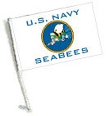 SSP Flags: Car Flag with Pole - U.S. Navy Seabees