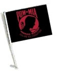 SSP Flags: Car Flag with Pole - Red POW MIA