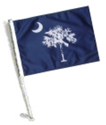 SSP Flags: Car Flag with Pole - State of South Carolina / Palmetto