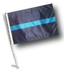 SSP Flags: Car Flag with Pole - Thin Blue Line