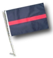 SSP Flags: Car Flag with Pole - Thin Red Line