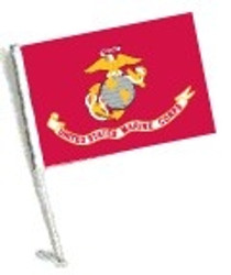 SSP Flags: Car Flag with Pole - Licensed U.S. Marine Corps