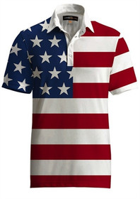 Loudmouth Golf Mens Polo - Fancy Stars & Stripes Shirt