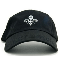 Dolly Mama: Ladies Baseball Hat - Fleur de Lis on Black