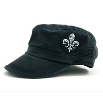 Dolly Mama: Ladies Fidel Military Cap - Fleur De Lis