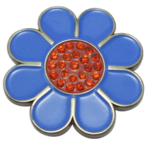 ReadyGolf: Hippie Flower Ball Marker & Hat Clip with Crystals - Blue with Red