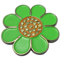 ReadyGolf: Hippie Flower Ball Marker & Hat Clip with Crystals - Green with Orange
