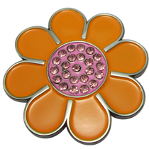 ReadyGolf: Hippie Flower Ball Marker & Hat Clip with Crystals - Orange with Pink