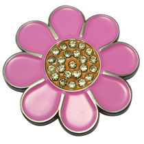 ReadyGolf: Hippie Flower Ball Marker & Hat Clip with Crystals - Pink with Orange