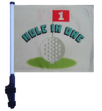 SSP Flags: 11x15 inch Golf Cart Flag with Pole - Hole in One