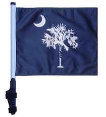 SSP Flags: 11x15 inch Golf Cart Flag with Pole - State of South Carolina/Palmetto