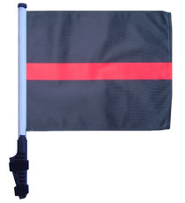 SSP Flags: 11x15 inch Golf Cart Flag with Pole - Thin Red Line