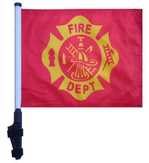 SSP Flags: 11x15 inch Golf Cart Flag with Pole - Fire Dept Vintage Design