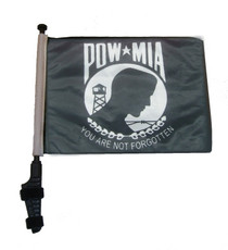 SSP Flags: 11x15 inch Golf Cart Flag with Pole - POW MIA