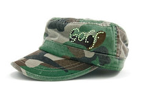 Dolly Mama Ladies Fidel Military Cap - Golf on Camouflage
