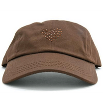 Dolly Mama Ladies Baseball Hat - Heart on Chocolate