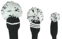Jan Craig Hand-Knit Headcovers - Green & White (Set of 3)