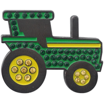 ReadyGolf: Green Tractor Ball Marker & Hat Clip with Crystals
