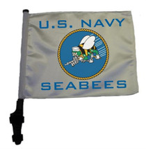 SSP Flags: 11x15 inch Golf Cart Flag with Pole - U.S. Navy Seabees