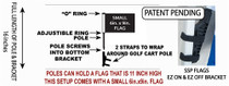 SSP Flags: Small 6x9 inch Golf Cart Flag with EZ On/Off Pole Bracket - Licensed US Marine Corps