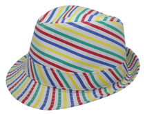 Multi Colored Rainbow Striped Fedora