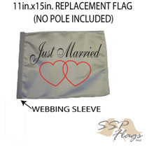 SSP Flags: 11x15 inch Golf Cart Replacement Flag - Just Married
