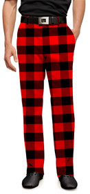 Loudmouth Golf: Mens Pants - Red & Black Lumberjack Buffalo Check