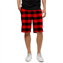 Loudmouth Golf Mens Shorts - Red & Black Lumberjack Buffalo Check
