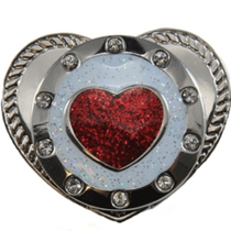 Navika: Swarovski Crystals Kicks Candy Shoe Ball Marker - Round Red Heart