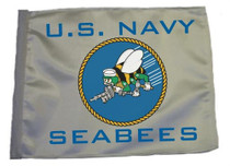SSP Flags: 11x15 inch Golf Cart Replacement Flag - U.S. Navy Seabees