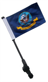 SSP Flags: Small 6x9 inch Golf Cart Flag with EZ On/Off Pole Bracket - Navy