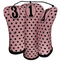 BeeJos: Golf Head Cover -  Retro Pink Polka Dots Print