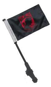 SSP Flags: Small 6x9 inch Golf Cart Flag with EZ On/Off Pole Bracket - Red POW MIA