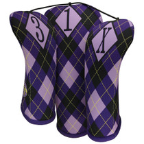 BeeJos: Golf Head Cover - Regal Argyle Purple Print