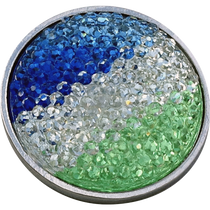 ReadyGolf: Rhinestone Crystal Ball Marker - Blue, White & Green