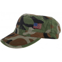Dolly Mama Ladies Fidel Military Cap - American Flag
