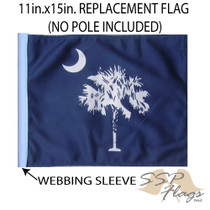"Golf Cart Flags - STATE OF SOUTH CAROLINA / PALMETTO 11""x15"" Replacement Flag"