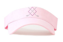 Dolly Mama Ladies Sporty Visor - Argyle Crossed Clubs on Pink