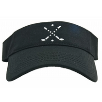 Dolly Mama Ladies Sporty Visor - Cross Club on Black