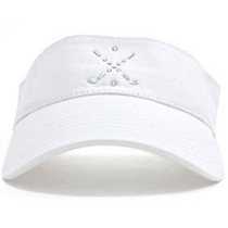 Dolly Mama Ladies Sporty Visor - Cross Club on White