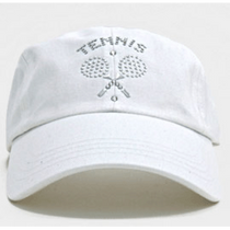 Dolly Mama Ladies Baseball Hat - Tennis Emblem on White