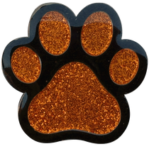 ReadyGolf: Glitter Ball Marker & Hat Clip - Paw Print (Orange)