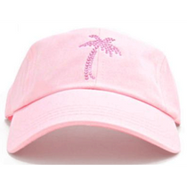 Dolly Mama Ladies Baseball Hat - Palm Tree on Pink