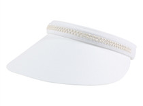 Dolly Mama Ladies Medium Clip-on Visor Jackie O - White/Pearl