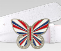 Druh Belts: Union Jack Red White & Blue Butterfly Buckle
