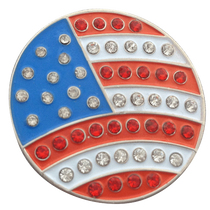 ReadyGolf: USA Flag Ball Marker & Hat Clip with Crystals