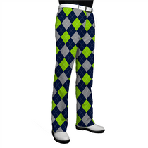 Loudmouth Golf: Men's Pants - SeaGuile (Blue, Silver & Sea Green Argyle)