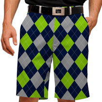 Loudmouth Golf: Men's Shorts - SeaGuile (Blue, Silver & Sea Green Argyle)