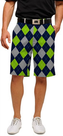 Loudmouth Golf: Men's Shorts - SeaGuile (Blue, Silver & Sea Green Argyle)*
